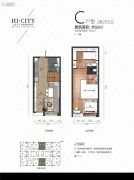 侨建・HI CITY2室2厅2卫56平方米户型图