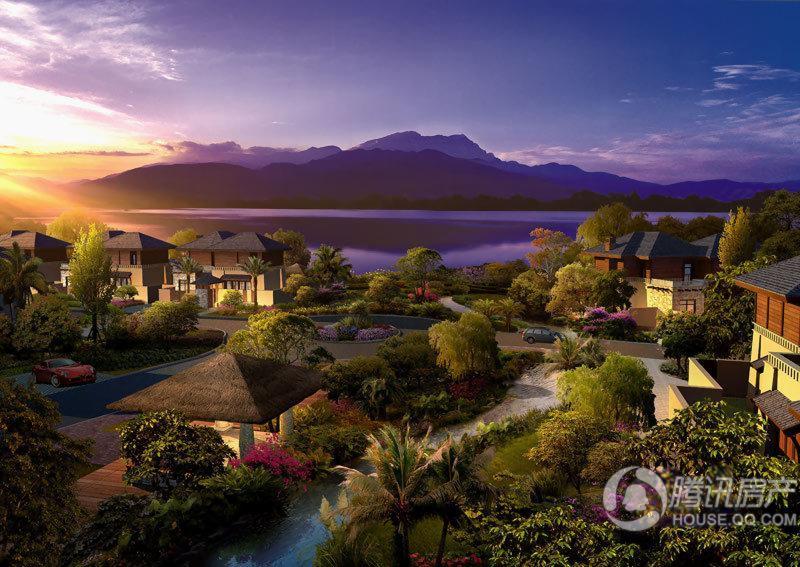 峨秀湖国际度假区独栋别墅半鸟瞰黄昏效果图