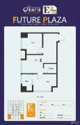 未来广场2室1厅1卫71平方米户型图