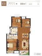 金科城3室2厅1卫88平方米户型图
