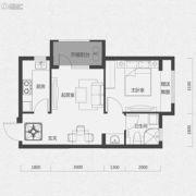 唐轩首府1室1厅1卫51平方米户型图