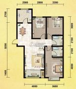 丽晶名邸3室2厅2卫129平方米户型图