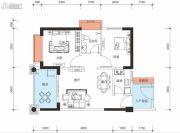 鑫月城2室2厅1卫67平方米户型图