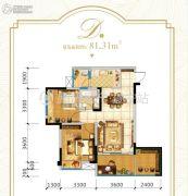 涌岷香榭城3室2厅1卫81平方米户型图