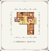 金鱼家园3室2厅2卫118平方米户型图