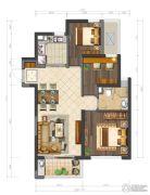 鲁能公馆3室2厅1卫90平方米户型图