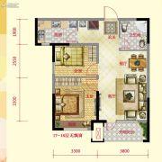 保利紫荆公馆2室2厅1卫79平方米户型图
