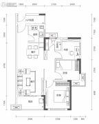 万林湖9期3室2厅1卫88平方米户型图