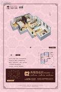 腾业・国王镇2室2厅1卫87平方米户型图