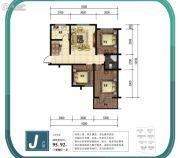 金山九泷湾3室2厅1卫95平方米户型图