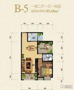 兰亭绿洲1室2厅1卫85平方米户型图