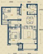 加州郡府・融邦2室2厅1卫90平方米户型图