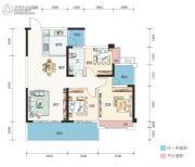 万象湖花园3室2厅1卫105--108平方米户型图