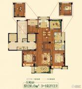 祥生悦山湖4室2厅2卫130平方米户型图