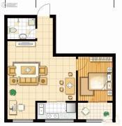 馨逸之福1室2厅1卫62--64平方米户型图