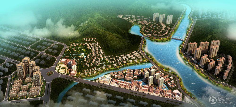 凤翔湖滨世纪项目白天大鸟瞰图
