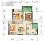 锦亭心街2室2厅1卫74平方米户型图