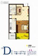 澳城苑库克船长1室1厅1卫48平方米户型图