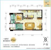 龙湖源著1室2厅1卫45平方米户型图