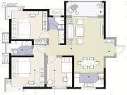 观海路8号3室2厅2卫126平方米户型图