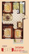 一诺・阳光鑫城3室2厅1卫116平方米户型图