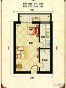 恒泰公馆1室1厅1卫48平方米户型图