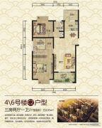 谯郡华府3室2厅1卫105平方米户型图