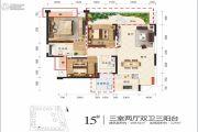 江岸国际3室2厅2卫108平方米户型图