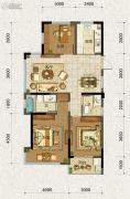 德信・元湖一号3室2厅2卫88平方米户型图