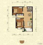 印象青城2室2厅1卫91平方米户型图