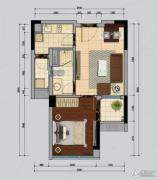南沙城二期1室2厅1卫47平方米户型图