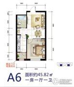 华源温泉度假公寓1室1厅1卫45平方米户型图
