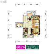 新加坡花园2室2厅1卫84平方米户型图