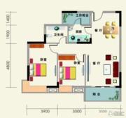 南地海江南2室2厅1卫87平方米户型图