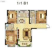 东郡华庭3室2厅2卫127平方米户型图