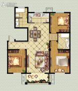 福临广场3室2厅2卫130平方米户型图