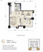 石家庄宝能中心2室2厅1卫84平方米户型图