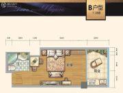 时代中心1室1厅1卫46平方米户型图