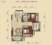 联发柳雍府2室2厅1卫76平方米户型图
