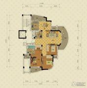 绿城蔚蓝公寓3室2厅2卫151平方米户型图