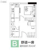 涌鑫八达通广场1室1厅1卫42平方米户型图
