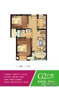 三盛・箐华里2室2厅1卫64平方米户型图
