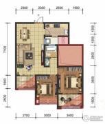星洲国际2室2厅1卫88平方米户型图