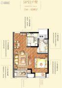 绿地博墅1室2厅1卫55平方米户型图