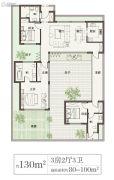 绿城桃李春风3室2厅3卫130平方米户型图