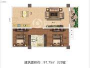 佳田西湖岸2室1厅1卫97平方米户型图