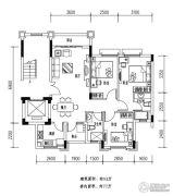欧浦花城3室2厅2卫93平方米户型图