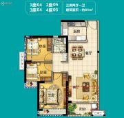 美的・花湾城3室2厅1卫84平方米户型图