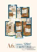 开元新城3室2厅2卫129平方米户型图