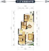 恒大华府3室2厅1卫104平方米户型图